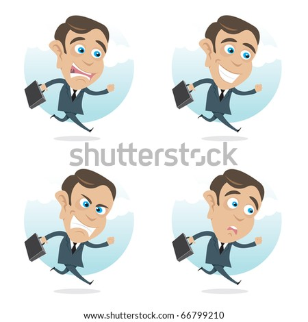Running business man cartoon in four different face expressions. - stock vector