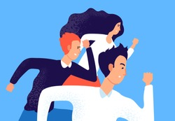 Running business team. Professional corporate competition, opponent workers run to success. Employees in race. Rivalry vector concept. Illustration of team run, businesswoman man race, people teamwork