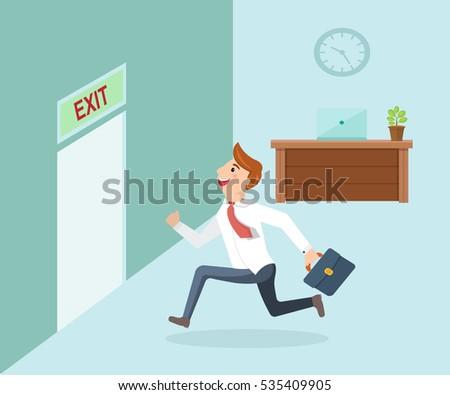 running businessman and open