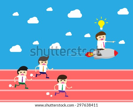 running businessman at the finishing line. wins Race target success. Bulb idea concept. winner. finish. win. flat design. track.Success. goal.Target. rocket.Business competition.Competitive advantage.