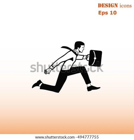running businessman. Vector illustration.