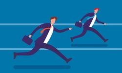 Running businessmen flat vector illustration. Leadership achievement competition business win team vector concept. Jogging people run track race teamwork