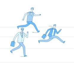 RUNNING BUSINESSMEN. Jogging people run track race winning team. Leadership achievement teamwork competition business vector concept