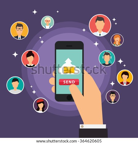 Running campaign, email advertising, direct digital marketing. Set of people avatars and icons. Flat design style modern vector illustration concept.
