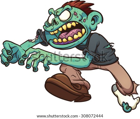 running cartoon zombie vector