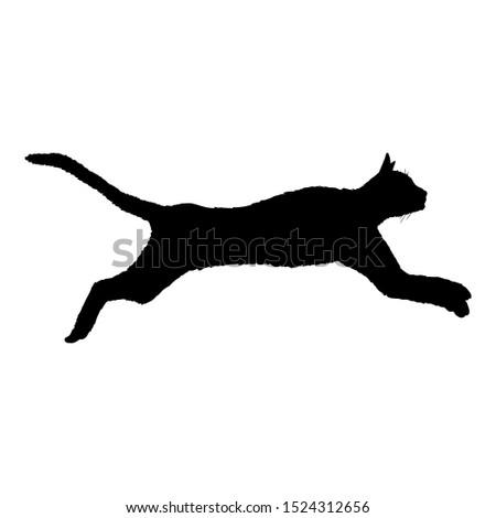 Running Cat SIlhouette. Vector Black Feline Logo.