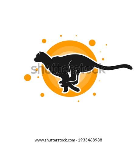 running cheetah animal logo design ストックフォト ©