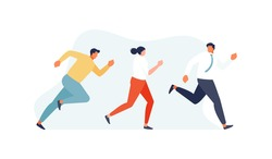 Running competing business people. Competition and career growth vector illustration