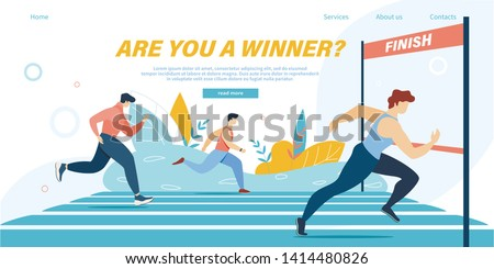 Running Competition, Group of Athlete Sprinter Sportsmen Team Run Marathon Distance or Sport Jogging Tournament Race on Stadium, Winner Crossing Finish Line Cartoon Flat Vector Illustration, Banner