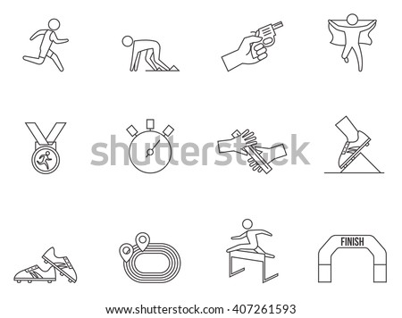 Running competition icons in thin outlines.