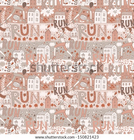 Running concept seamless pattern. Seamless pattern can be used for wallpaper, pattern fills, web page background,surface textures. Girl is running near houses in vector