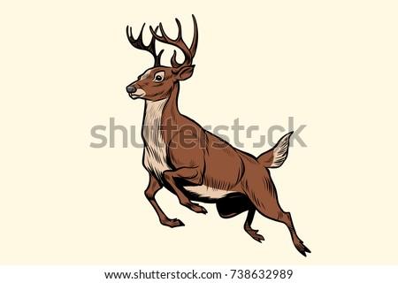 running deer jump pop art