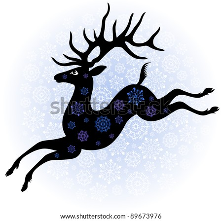 running deer on the christmas background with snowflakes a silhouette