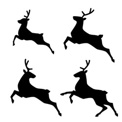 Running Deer set. Vector illustration.