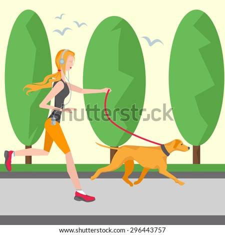 running girl in headphones with