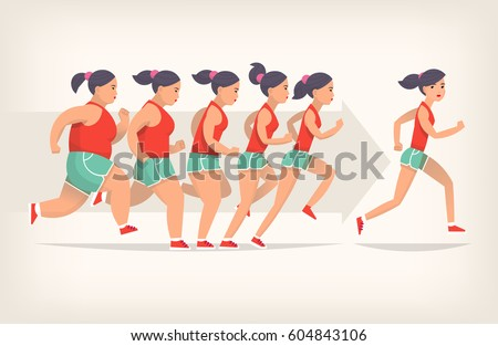 Running girl is loosing weight in process of jogging. Stages of loosing weight. Great results in sports. Vector illustration for gym posters.