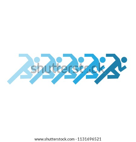 running group of people symbol vector illustration - design concept of health