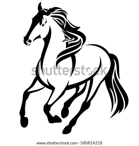 running horse black and white vector outline