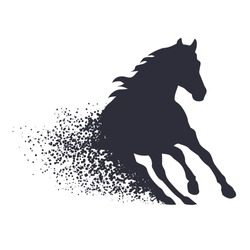 running horse in the grunge style