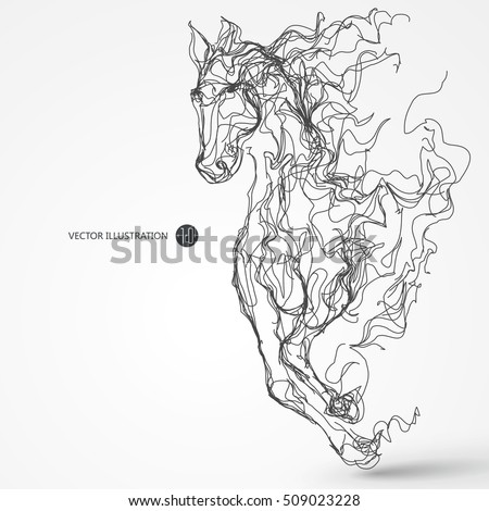 Running horse, lines drawing, vector illustration.