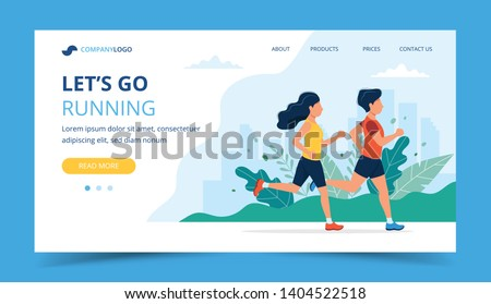 Running landing page template. Man and woman running in the park. Illustration for marathon, city run, training, cardio exercising. Vector illustration in flat style