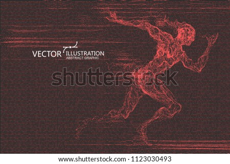 Running man, a lot of points are made up, vector illustration.