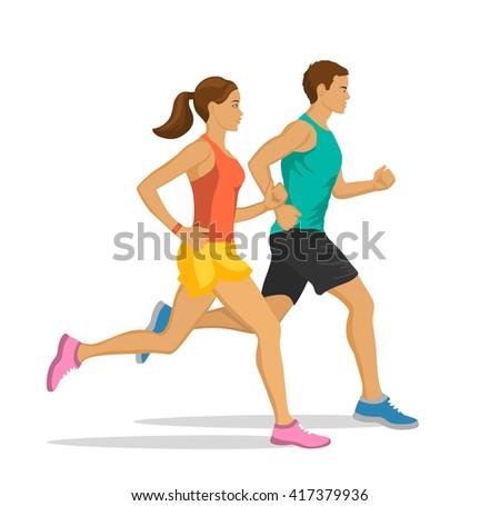running man and woman jogging