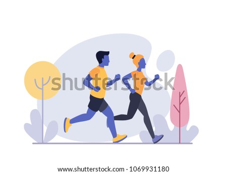 Running Man and Woman. Jogging Couple Vector