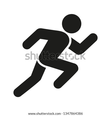 Running man, athletics, marathon, summer sport, run icon isolated on white background.