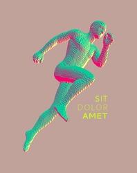 Running man constructing from cubes. Marathon runner. Human body model. Design for sport. Voxel art. 3D vector illustration.