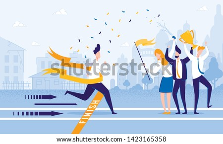 Running Man Crosses Finish Line. People Meet Firework Man at Finish. From Poverty to Wealth. Achive Goal. Vector Illustration. Way to Victory. Financial Stability. Business Plan Save Money. Stock photo ©