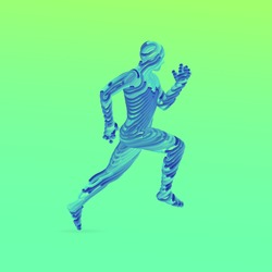Running man. Emblem for marathon and jogging. 3d model of man. Vector Illustration. Wire connection to virtual reality.