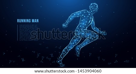 Running man from lines, triangles and particle style design. Human anatomy, sport concept. Polygonal wireframe mesh art.