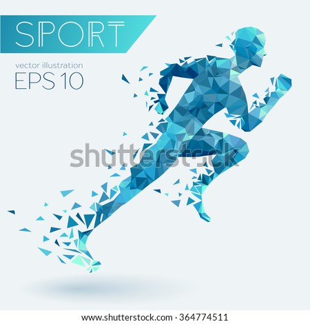 Running man from triangles, low poly style, eps 10 stock photo