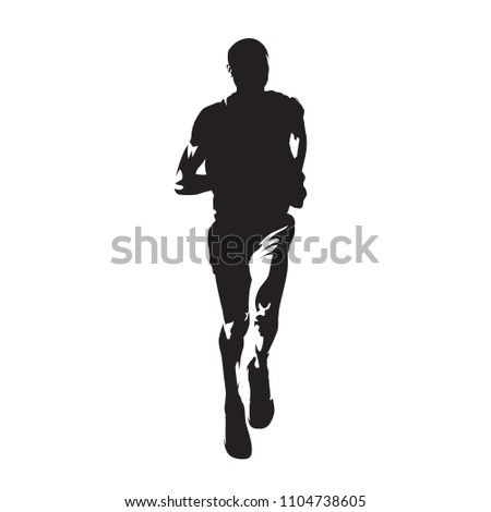 Running man, front view, isolated vector silhouette. Run. Ink drawing