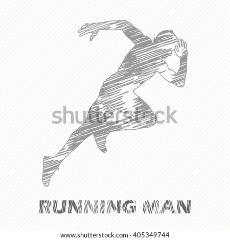Running man illustration. Creative, luxury gradient color style image. Print label, banner, icon, book, cover, card, website, web, greeting, invitation. Street art. Hand drawn textured design.