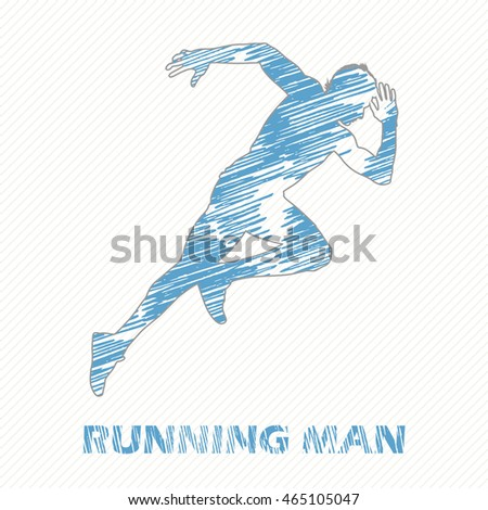Running Man illustration, image. Creative, luxury gradient color style image. Print label, banner, icon, book, cover, card, website, web, greeting, invitation. Hand drawn textured