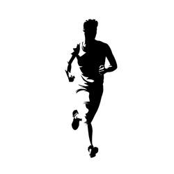 Running man, marathon run front view. Abstract vector silhouette