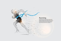 Running man. Motion art line dot concept. Vector illustration