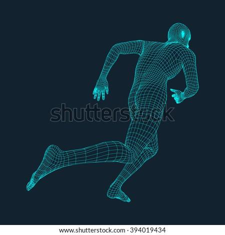 running man polygonal design