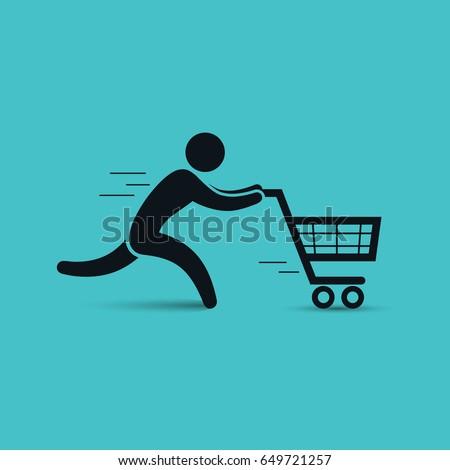 Running man pushing shopping cart icon. Vector shopping sale illustration.