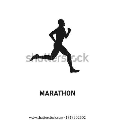 Running man silhouette. Sport activity icon sign or symbol. Athlete logo. Athletic sports. Jogging or sprinting guy. Marathon race. Speed concept. Runner figure. Fitness black vector illustration. Photo stock ©