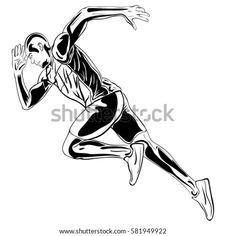 Running man. Vector artwork in the style of ink drawing Hand drawn runner vector illustration