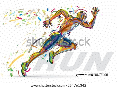 running man vector artwork in