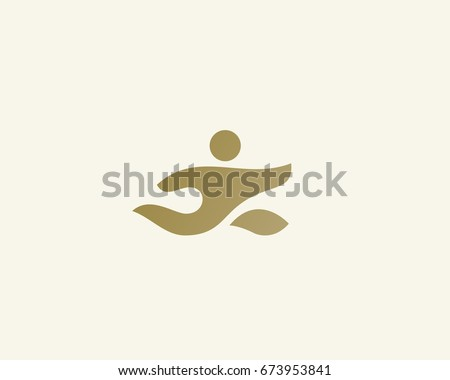 Running man vector logotype. Care delivery creative logo. Hand sport action fitness idea icon symbol