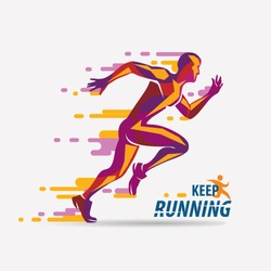 running man vector symbol, sport and competition concept background