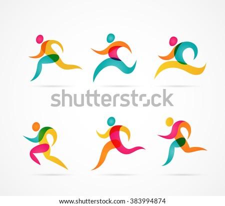 running marathon colorful