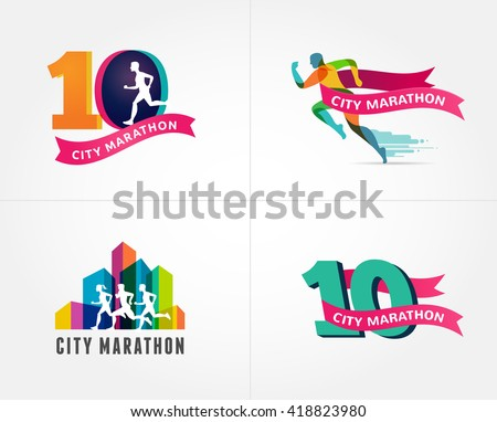 Running marathon, icon and symbol with number