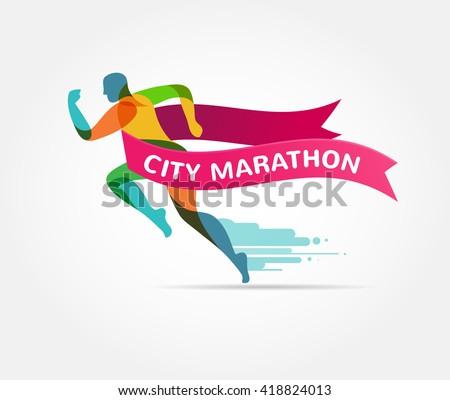 Running marathon, icon and symbol with ribbon, banner Stock fotó ©