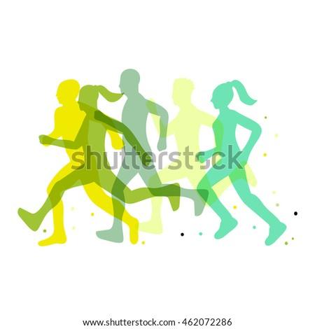 Running marathon illustration